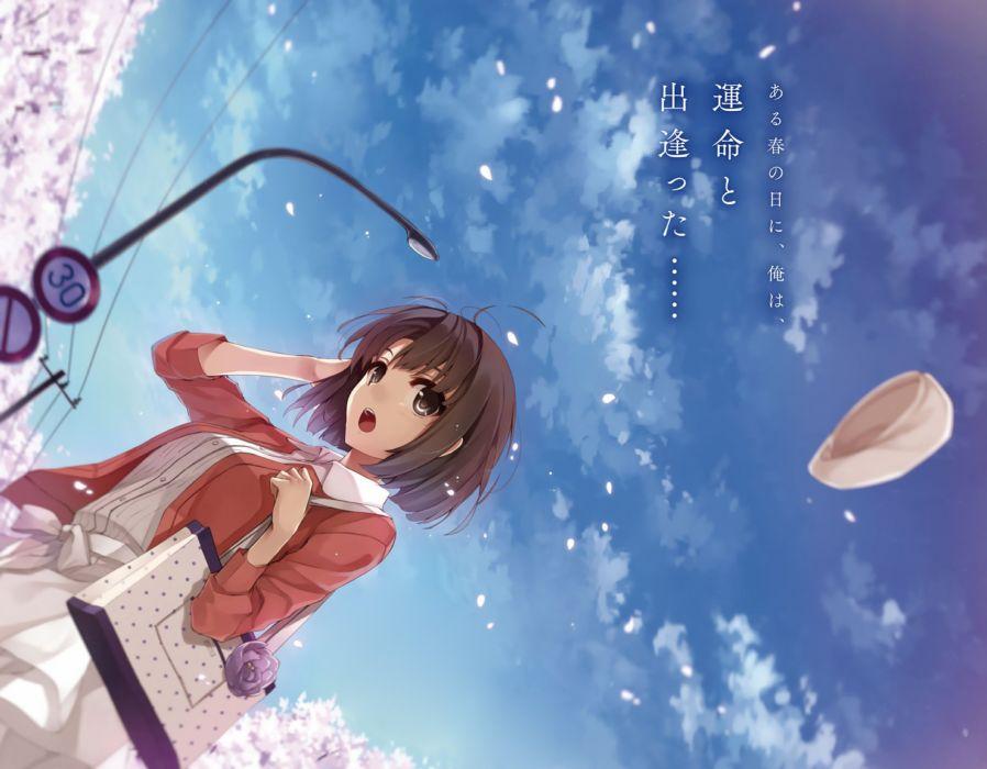 cherry blossoms clouds katou megumi misaki kurehito petals saenai heroine no sodatekata short hair sky wallpaper