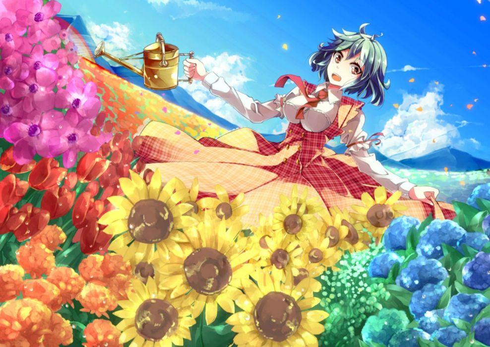 clouds dress flowers green hair kazami yuuka petals red eyes short hair sky sunflower tie touhou yoshinaga p wallpaper