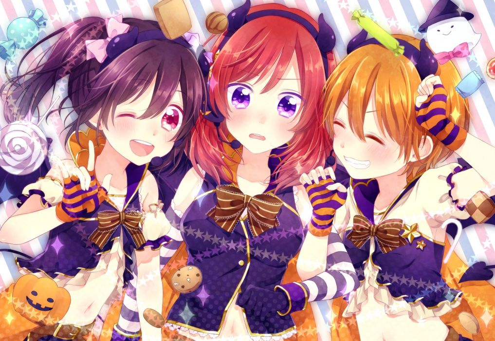 girl black hair blush bow candy gloves halloween headband hinano horns lollipop microphone navel pumpkin red eyes red hair ribbons twintails wink wallpaper