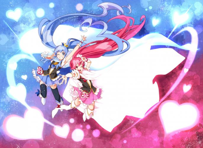 girls blue hair long hair pink hair precure tagme (character) ushiki yoshitaka wallpaper