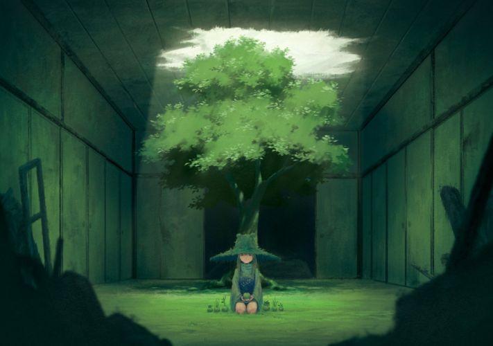 hat miso pan moriya suwako touhou tree wallpaper