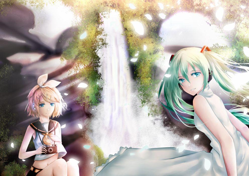 hatsune miku kagamine rin summer summer dress vocaloid water wallpaper