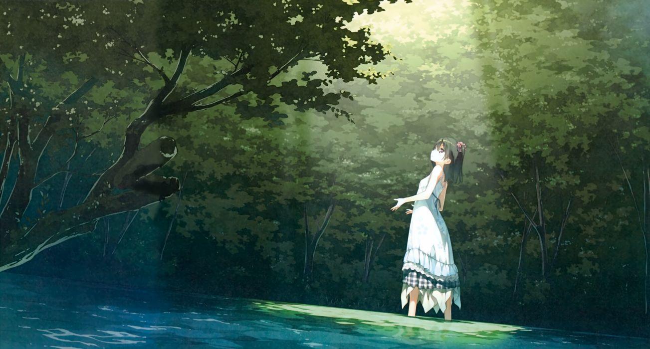 nenme no houkago black hair dress forest kantoku original scan scenic shizuku (kantoku) summer dress tree wallpaper