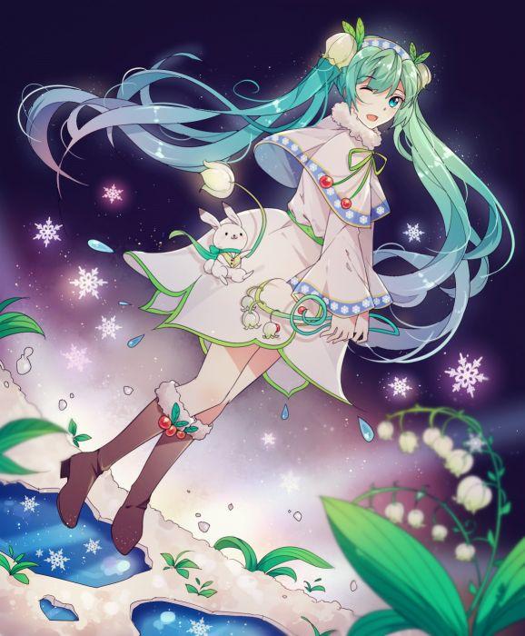 Vocaloid Hatsune Miku White Flower Snowflakes wallpaper