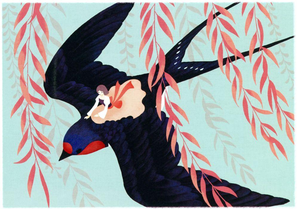 Tetorapod Leaves Red Bow Riding Lipstick Kneeling original wallpaper