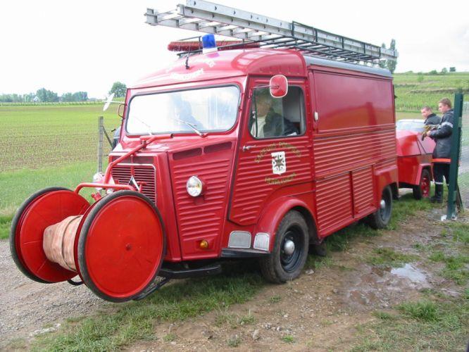 Citroen type-h classic cars french Fourgonnette truck van pompier delivery wallpaper