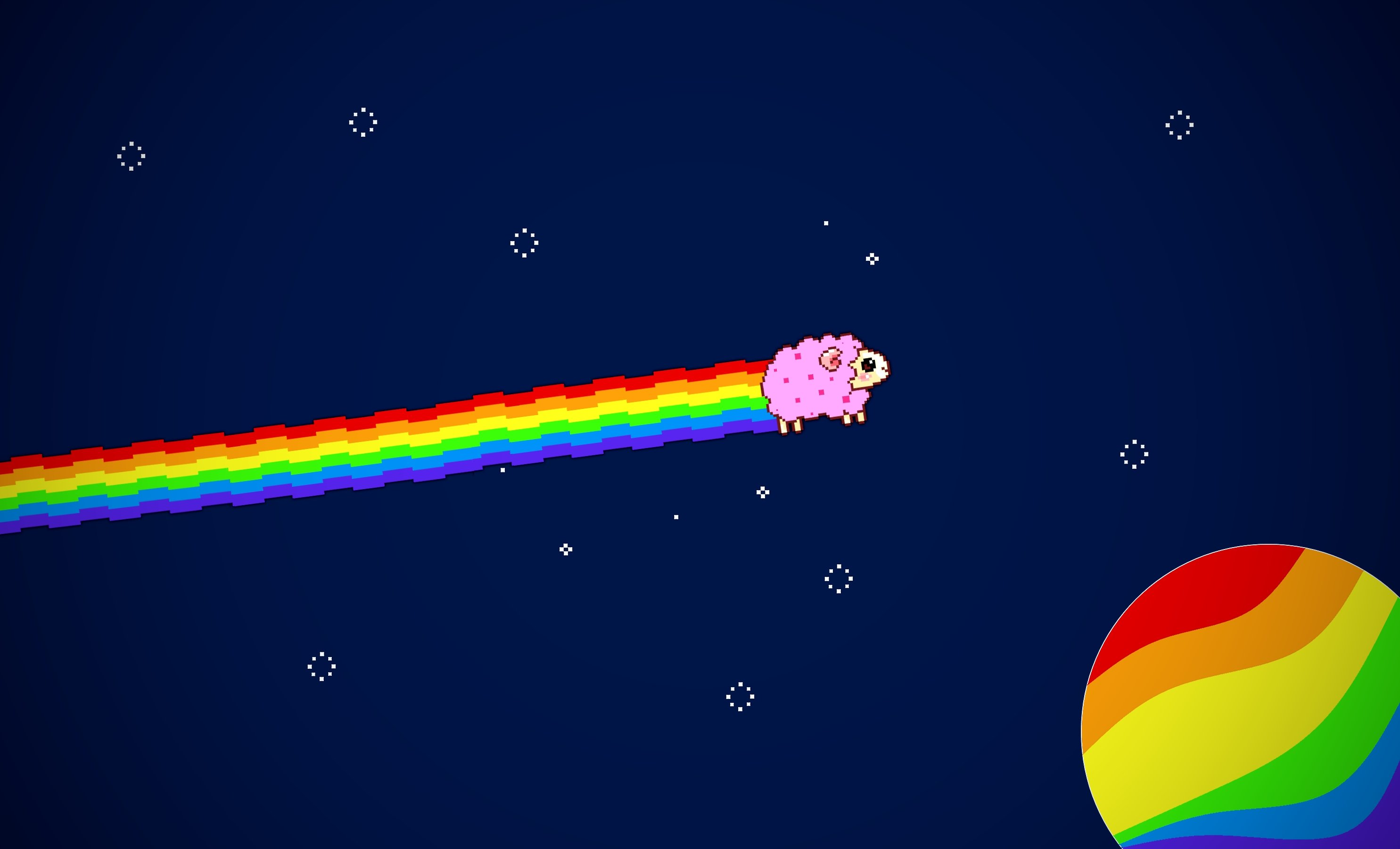 Sheep Nyan Cat Rainbow Limitless TomLeevis Space Pixel Stars Easy Selfmade Wallpaper