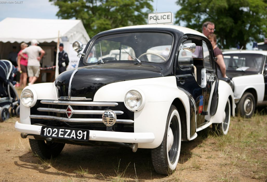 renault 4cv classic cars french police wallpaper