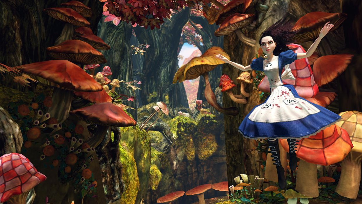 alice wonderland-long hair forest fantasy wallpaper