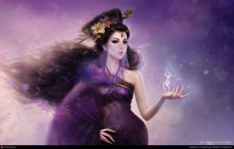 long hair fantasy girl magic dress beautiful wallpaper