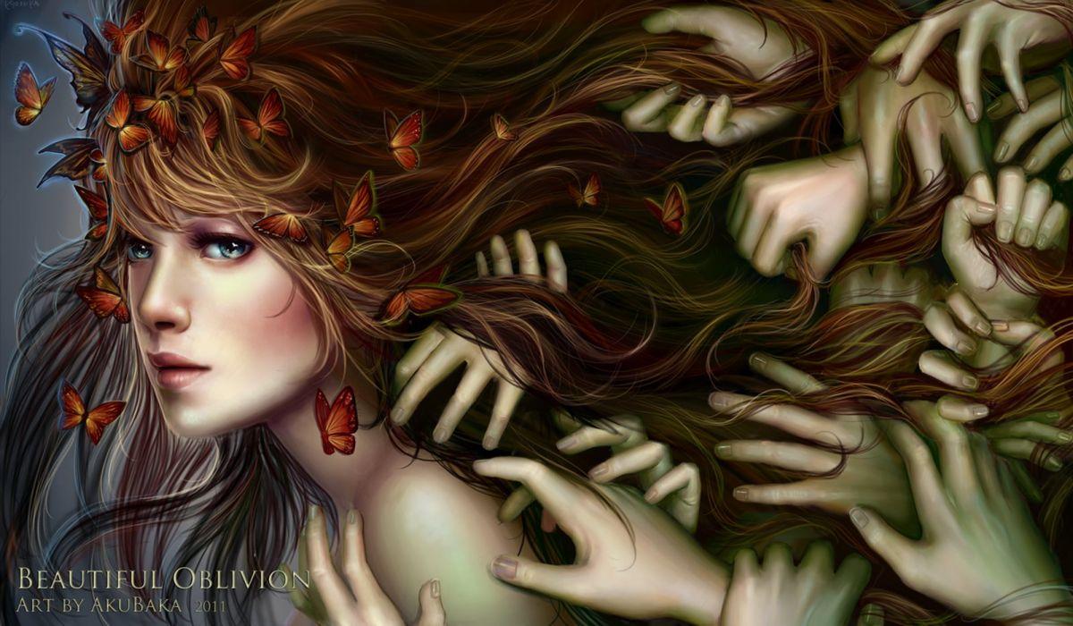 fairy fantasy girl butterfly blue eyes hands beautiful wallpaper