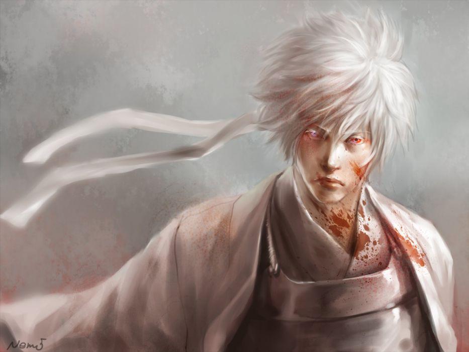 anime series gintama blood character gintoki wallpaper