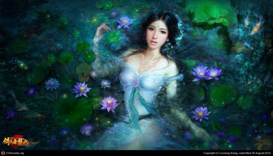 fairy fantasy girl water magic flower beautiful lotus dress wallpaper