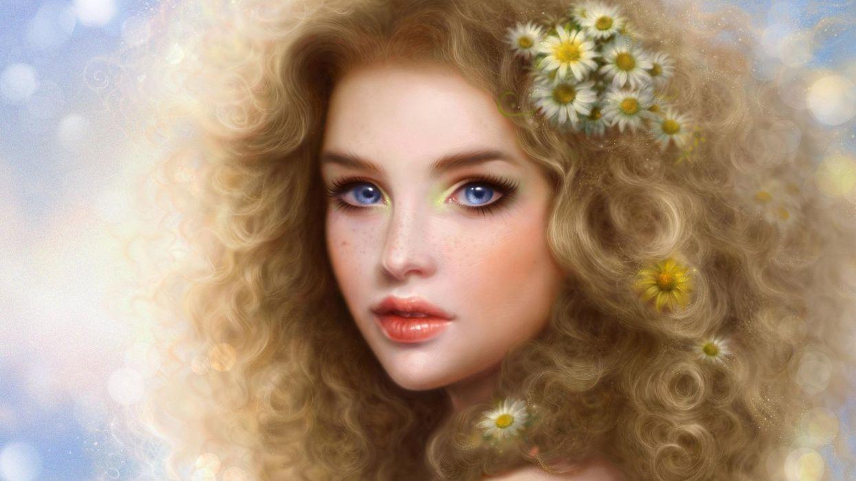 fantasy girl blue eyes beautiful face blonde girl daisy hair flower wallpaper