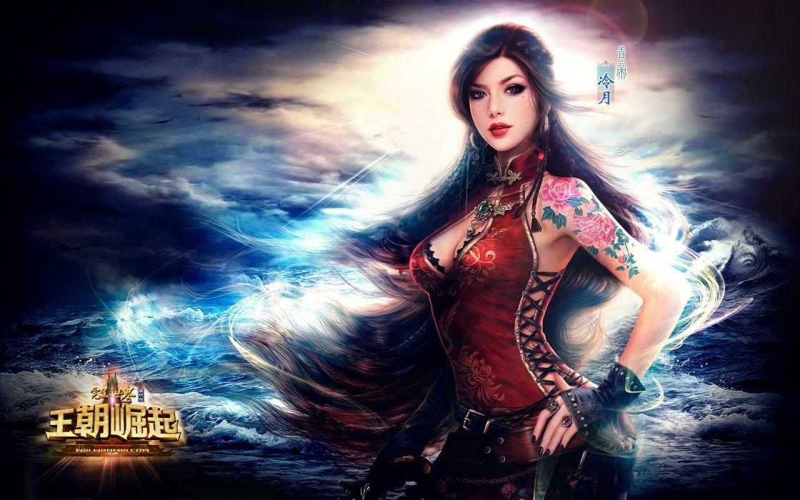 fantasy girl warrior sea tattoo long hair sky beautiful wallpaper