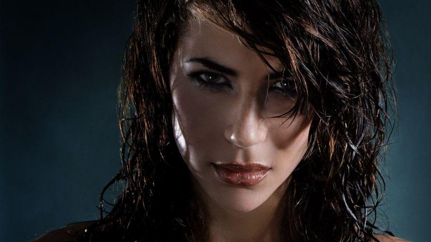 woman beauty brunette face eyes model wet hair wallpaper