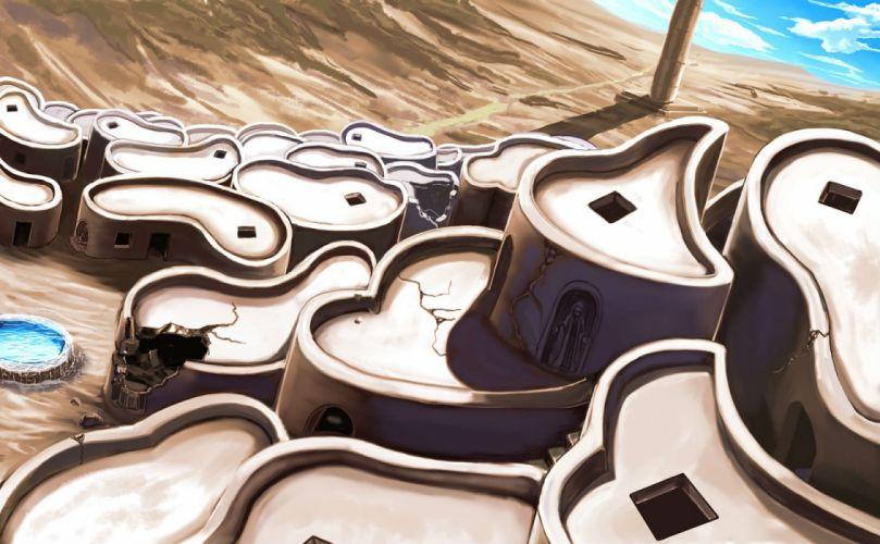 abazu-red city desert nobody pixiv fantasia ruins scenic water wallpaper