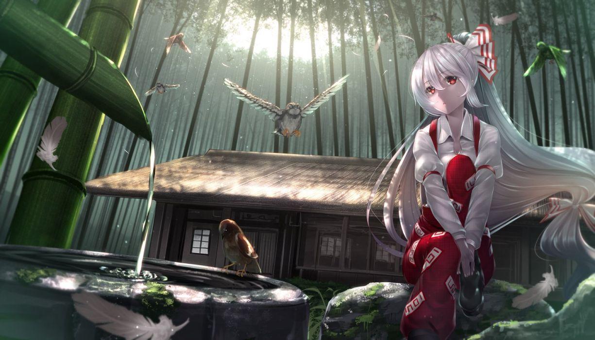 animal bird bow building feathers fujiwara no mokou gray hair long hair ponytail red eyes ryosios touhou water wallpaper