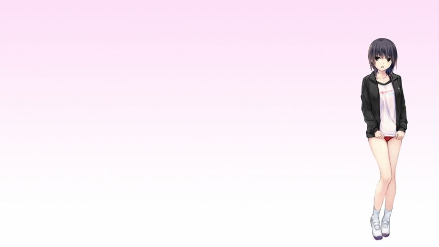 aoyama sumika black eyes black hair bloomers coffee-kizoku gym uniform original short hair wallpaper