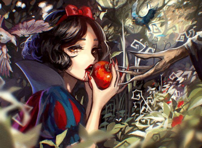 apple black hair bow brown eyes headband original short hair snow white tsukun112 wallpaper