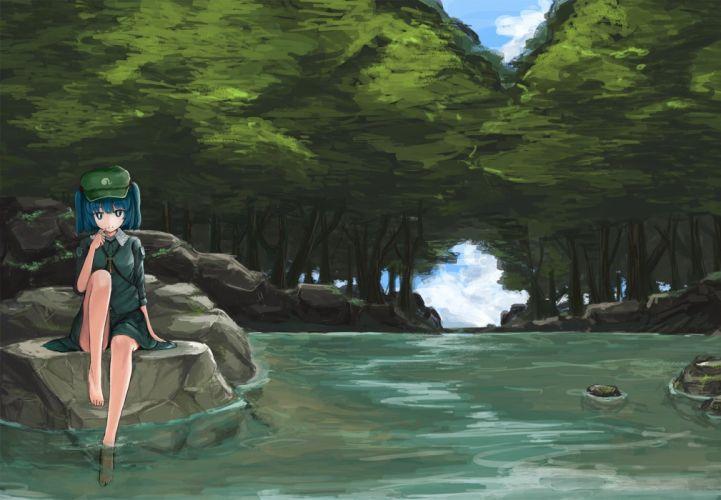 barefoot blue hair forest hat kawashiro nitori monobe tsukuri touhou tree water wallpaper
