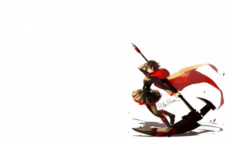 black hair cape gray eyes pantyhose ruby rose rwby scythe short hair tagme (artist) weapon white wallpaper