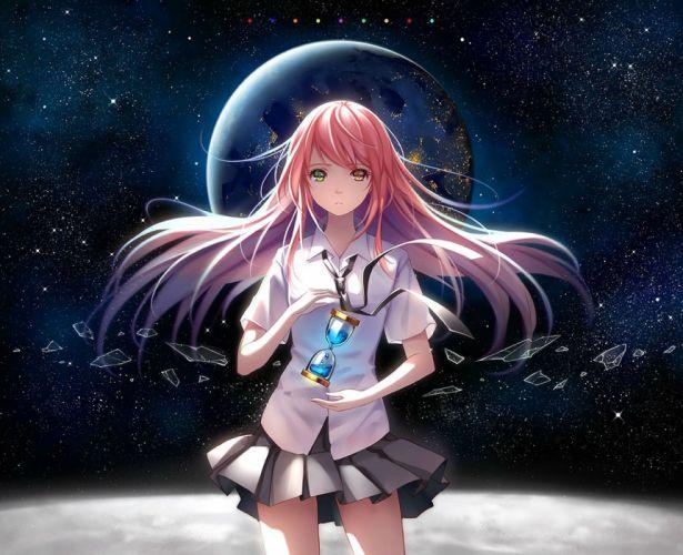 bicolored eyes long hair niya original pink hair planet seifuku shirt skirt space stars tidsean tie wallpaper