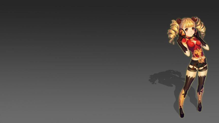 blonde hair cat smile gloves headphones horns long hair orange eyes original twintails zmfkv wallpaper