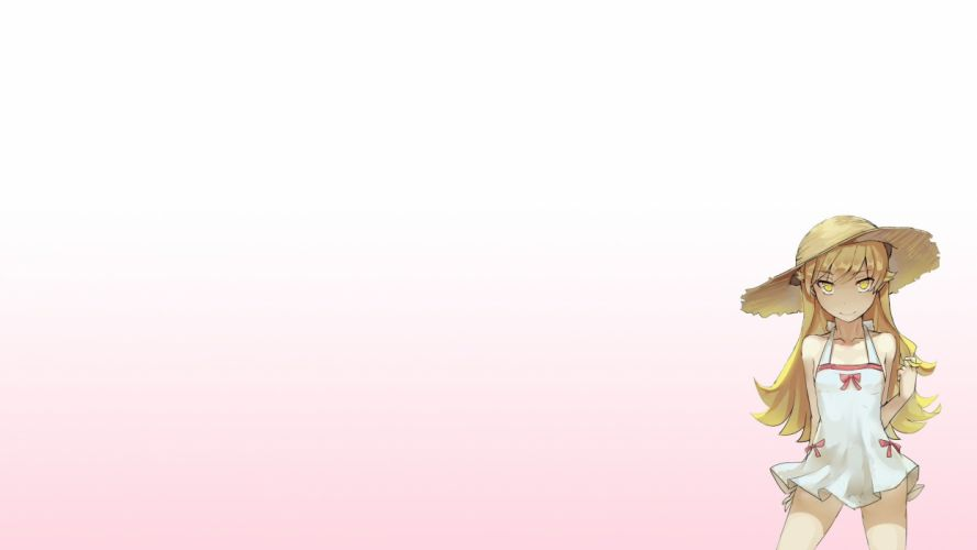 blonde hair dress hat long hair monogatari (series) nisemonogatari oshino shinobu pointed ears walzrj yellow eyes wallpaper