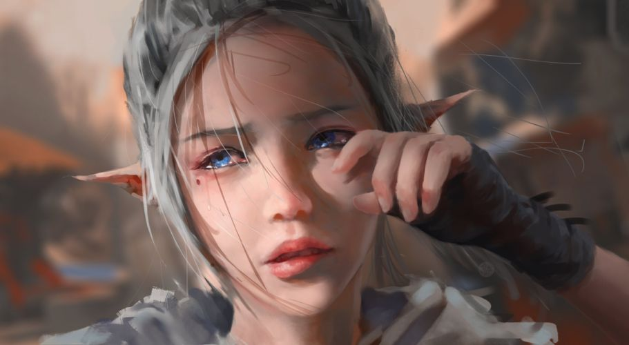 blue eyes close crying ghostblade gloves gray hair original pointed ears realistic tears wlop wallpaper