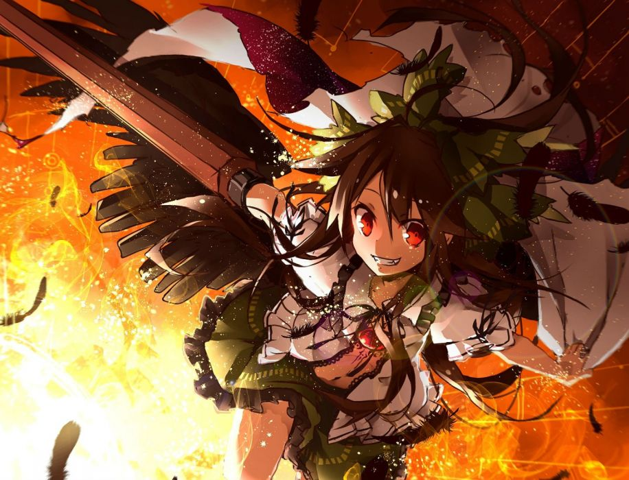 bow brown hair fang feathers red eyes reiuji utsuho touhou toutenkou weapon wings wallpaper