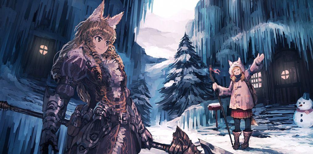 girls animal ears armor blonde hair boots brown eyes brown hair building foxgirl jumpei99 long hair original skirt snow snowman tree weapon winter wallpaper