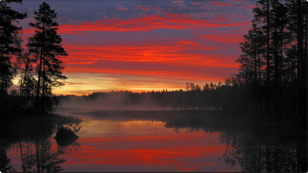 Sunrise Moss Lake Dalarna Sweden Wallpaper