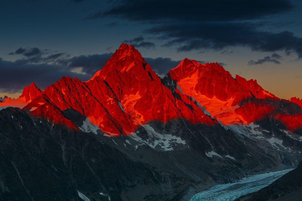 Alpenglow Over the Glacier d Argentiere Alps Alps mountains sky night sunset glacier landscape nature wallpaper