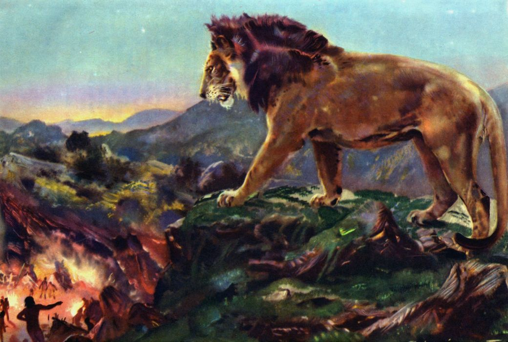 Ancient animals Lions Zdenek Burian Lion overlooking camp Animals painting wallpaper