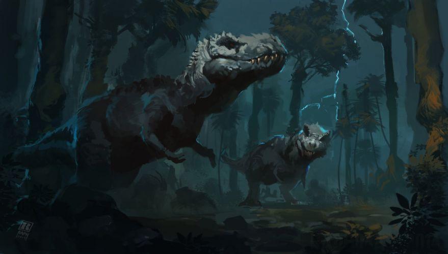 Ancient animals Dinosaur Tyrannosaurus Animals painting art artwork wallpaper
