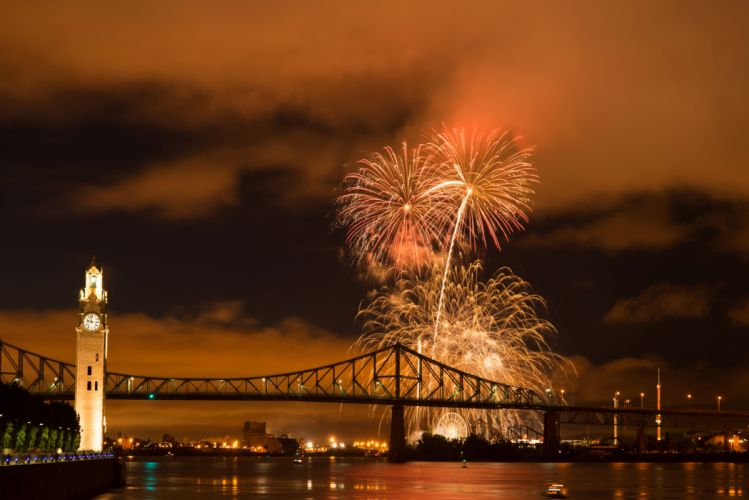 Canada River Bridge Fireworks Montreal Night Cities wallpaper