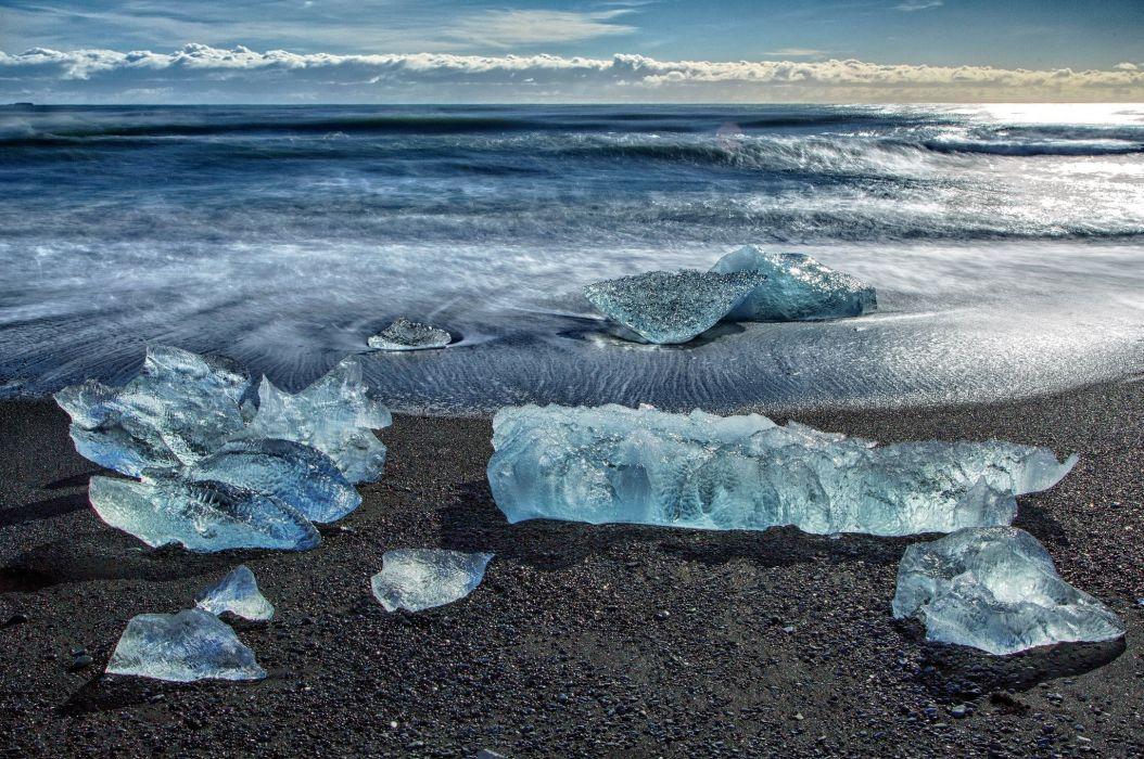 Coast Waves Water Ice Nature winter frozen wallpaper
