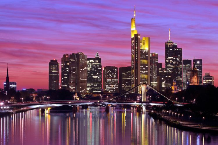 Deutschland Germany Frankfurt am Main city river bridge lights lighting reflection evening sky sunset buildings houses skyscrapers wallpaper