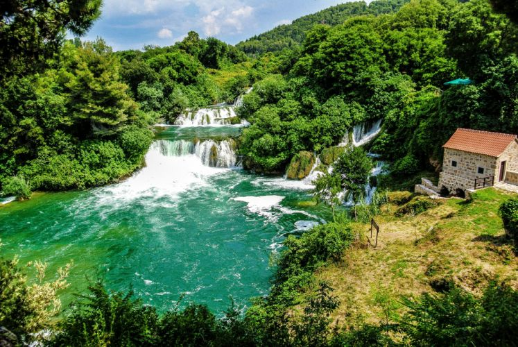 Croatia Park Waterfall Forest River Krka Nature wallpaper
