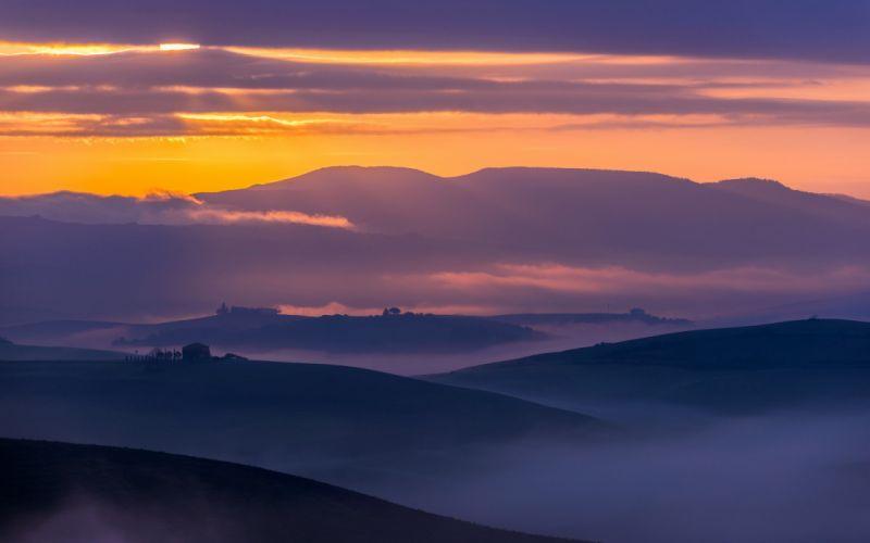 fog field landscape wallpaper