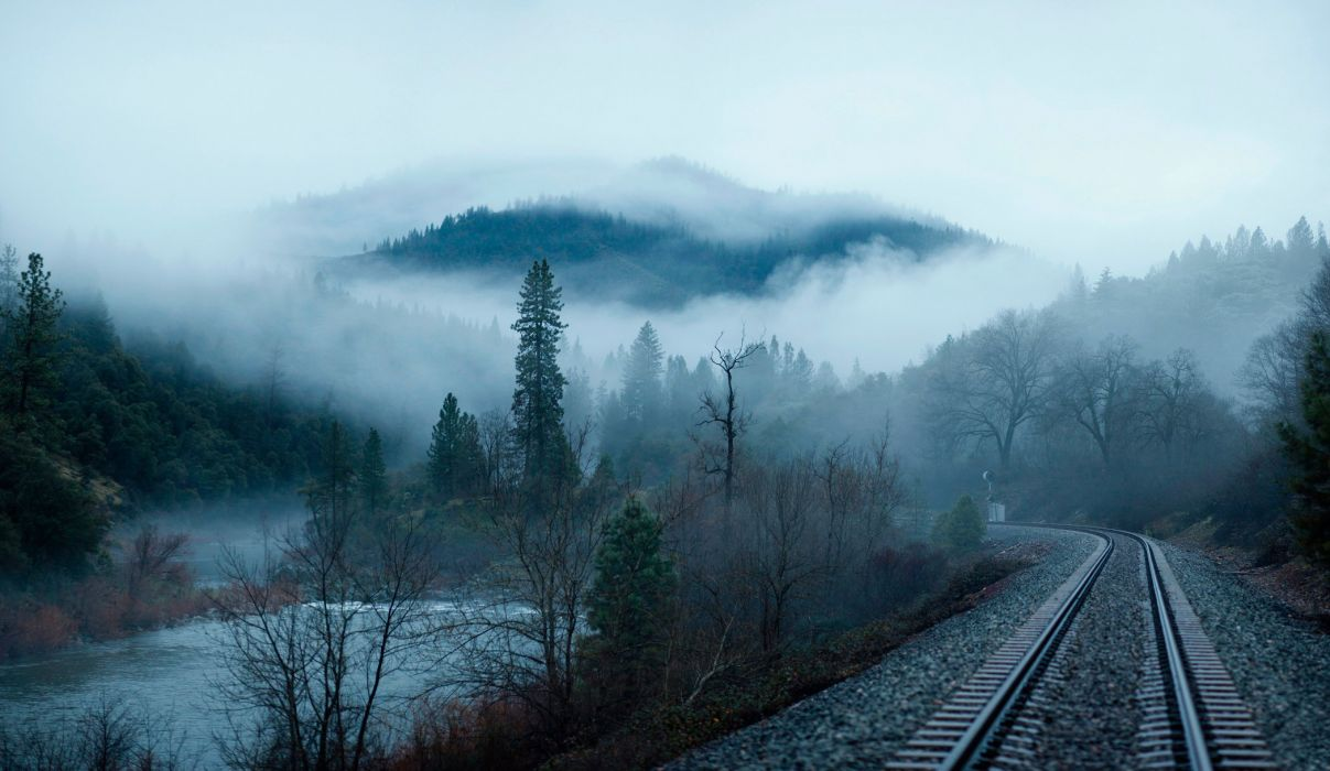 Forest trees river water mountains morning fog railroad landscape nature train wallpaper