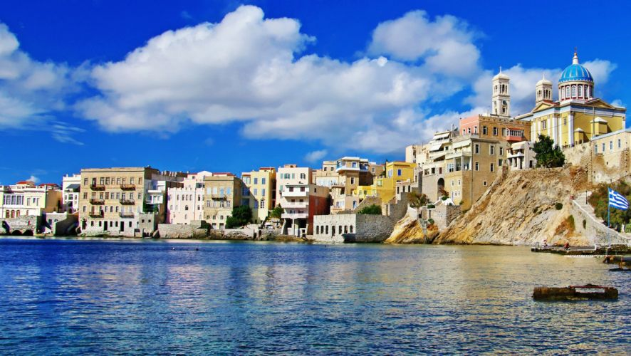 Greece Houses Sea Cities wallpaper