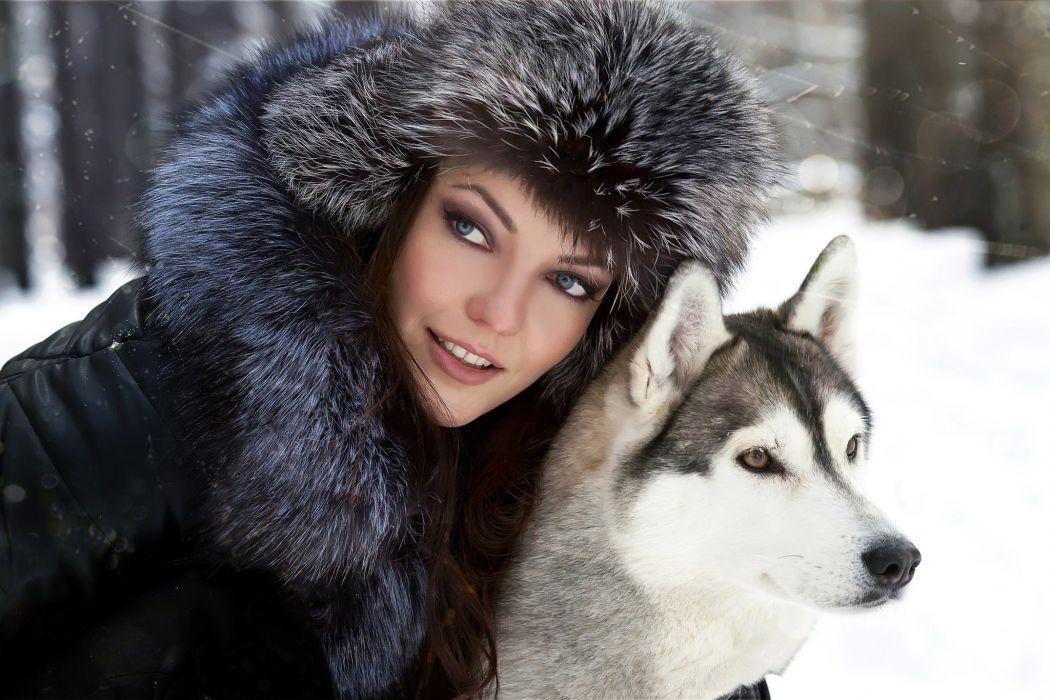 Husky dog girl blue eyes friend fur animals winter wallpaper