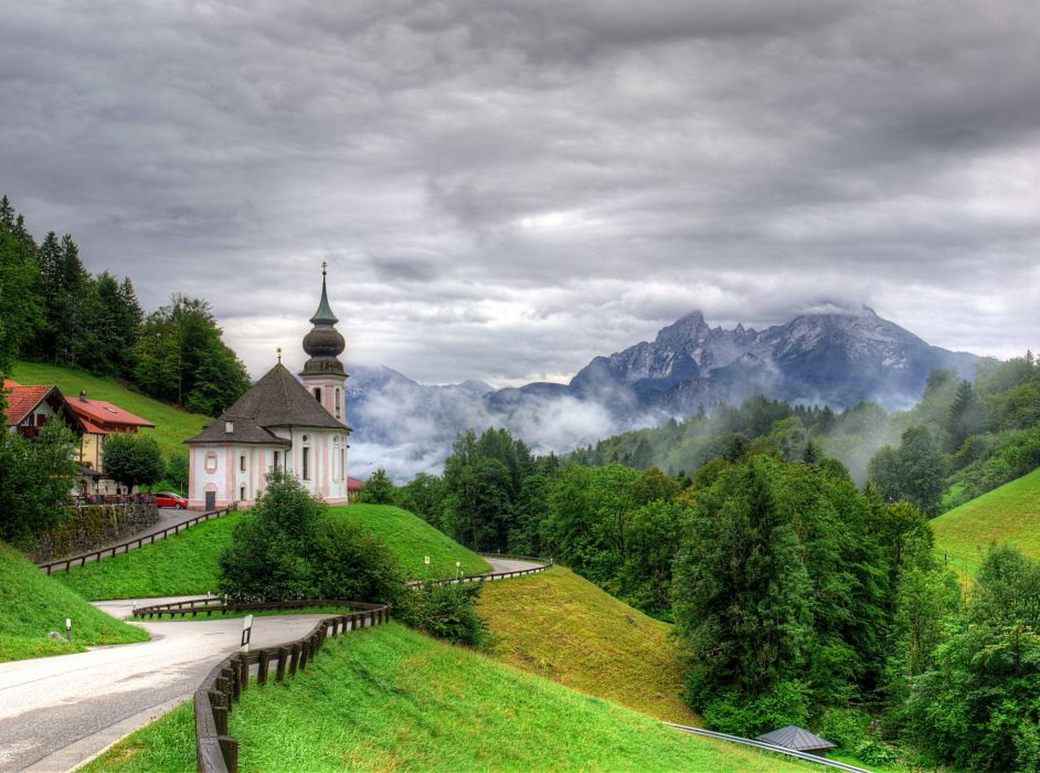 Germany Scenery Temple Mountains Road Seiden Trees Nature ...
