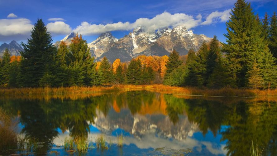 lake in the valley reflection on mountains dropped the clouds autumn reflection wallpaper