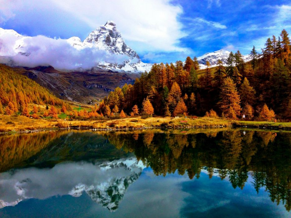 lake landscape mountain sky commune Cervino valley Aosta a mountain resort Breuil-Cervinia Matterhorn Italy the Alps autumn reflection wallpaper