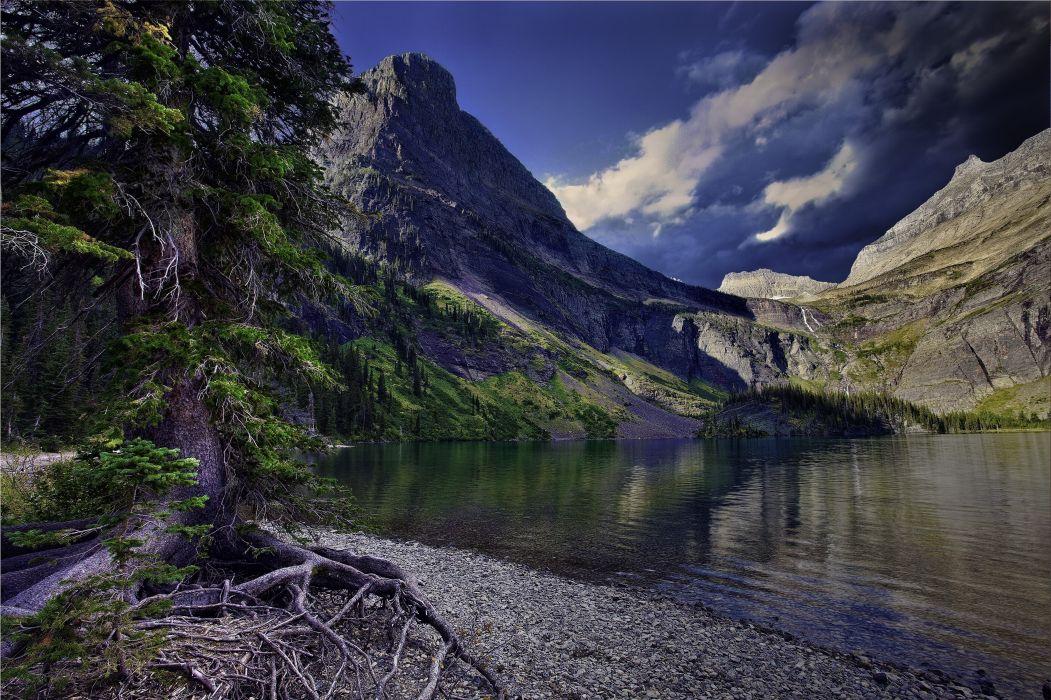 Lake Glacier National Park Montana mountain forest bottom Glacier wallpaper
