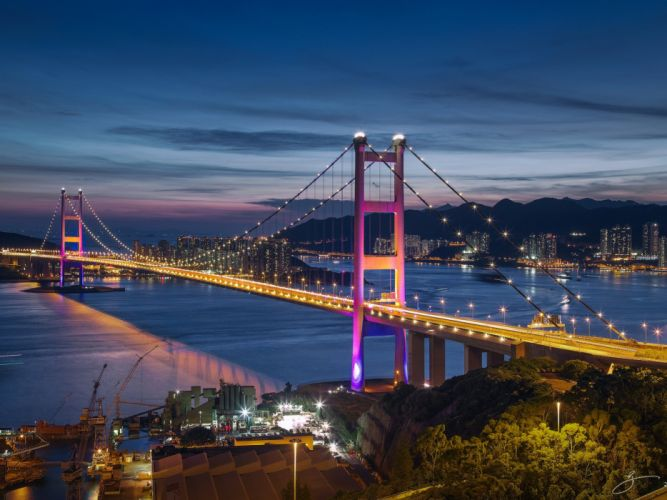 lights night Hong Kong Hong Kong bridge sea wallpaper