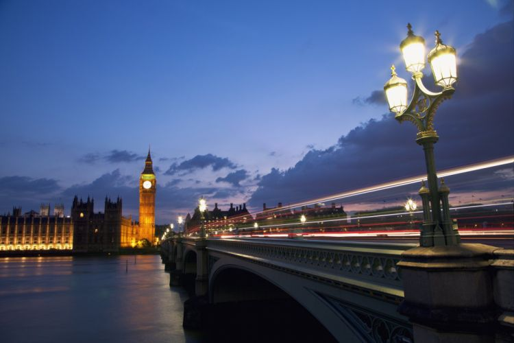 London England capital architecture bridge river night lights motion effects blue sky clouds city wallpaper